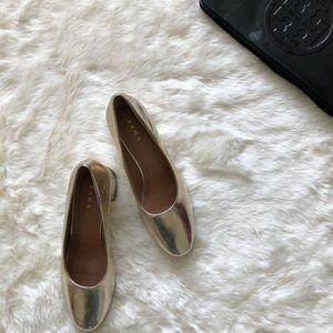 Zara Metallic Gold Ara Block Heels